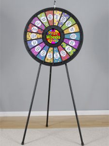 18 Slot Black Floor Stand Prize Wheel - spinn and win display booth game