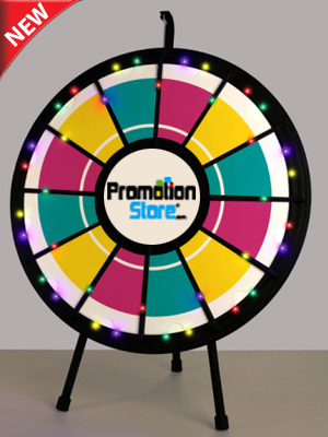12-Slot Black Tabletop Prize Wheel Game with Lights