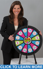 "12-Slot Black 20"" Table Top Mini Prize Wheel"