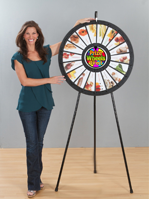 18 Slot Black Floor Stand Prize Wheel with graphics